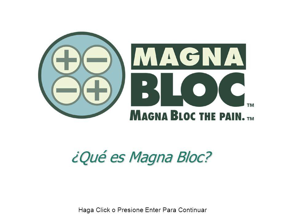 u Cuatro imanes de tierras raras (Con potencia de 12,500 gausios c/u) u Un anillo de corriente magnética Un Magna Bloc TM consta de: u Empaque u Imanes arreglados en un diseño cuadripolar - polos alternos que crean una pendiente magnética