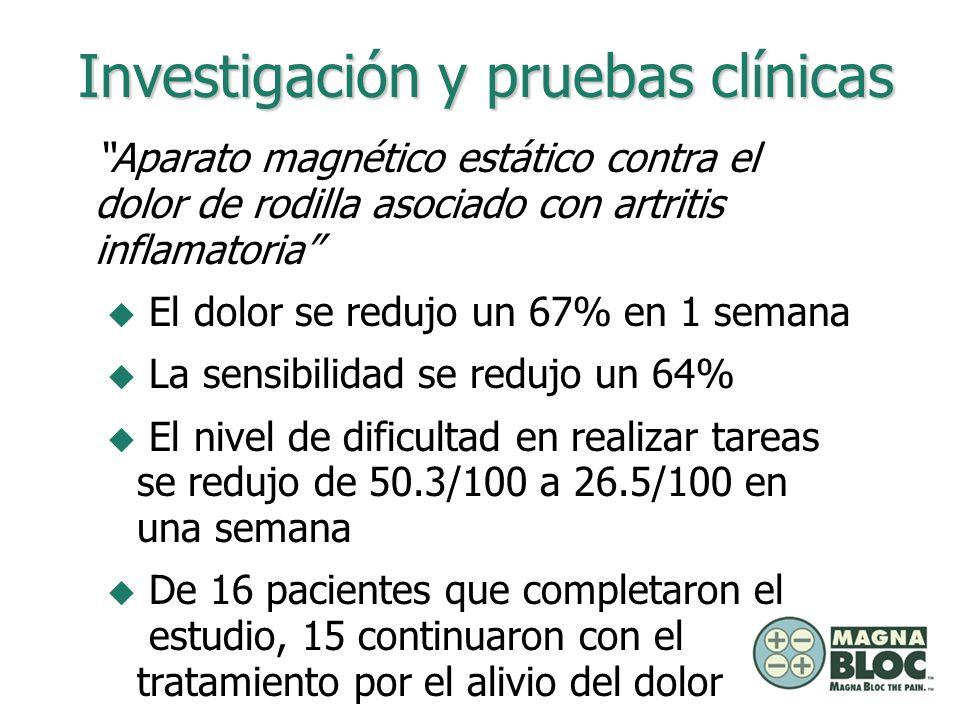 Aparato magnético estático contra el dolor de rodilla asociado con artritis inflamatoria u El dolor se redujo un 67% en 1 semana u La sensibilidad se
