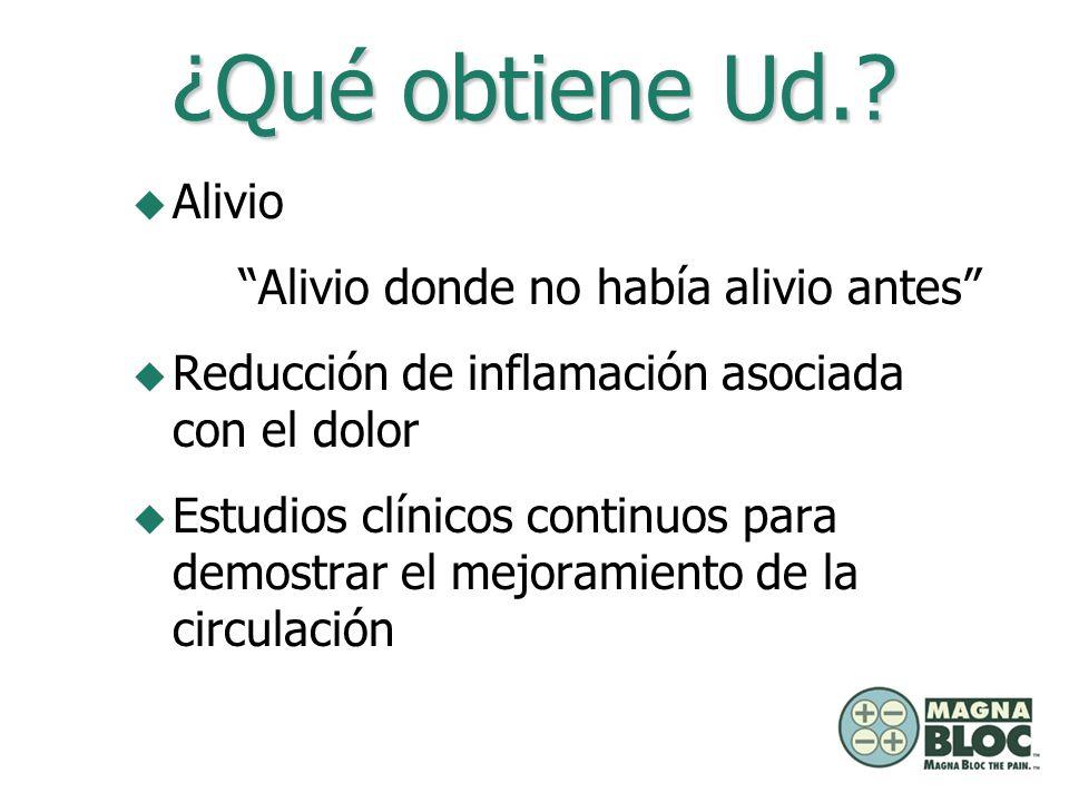 ¿Qué obtiene Ud.? u Alivio Alivio donde no había alivio antes u Reducción de inflamación asociada con el dolor u Estudios clínicos continuos para demo
