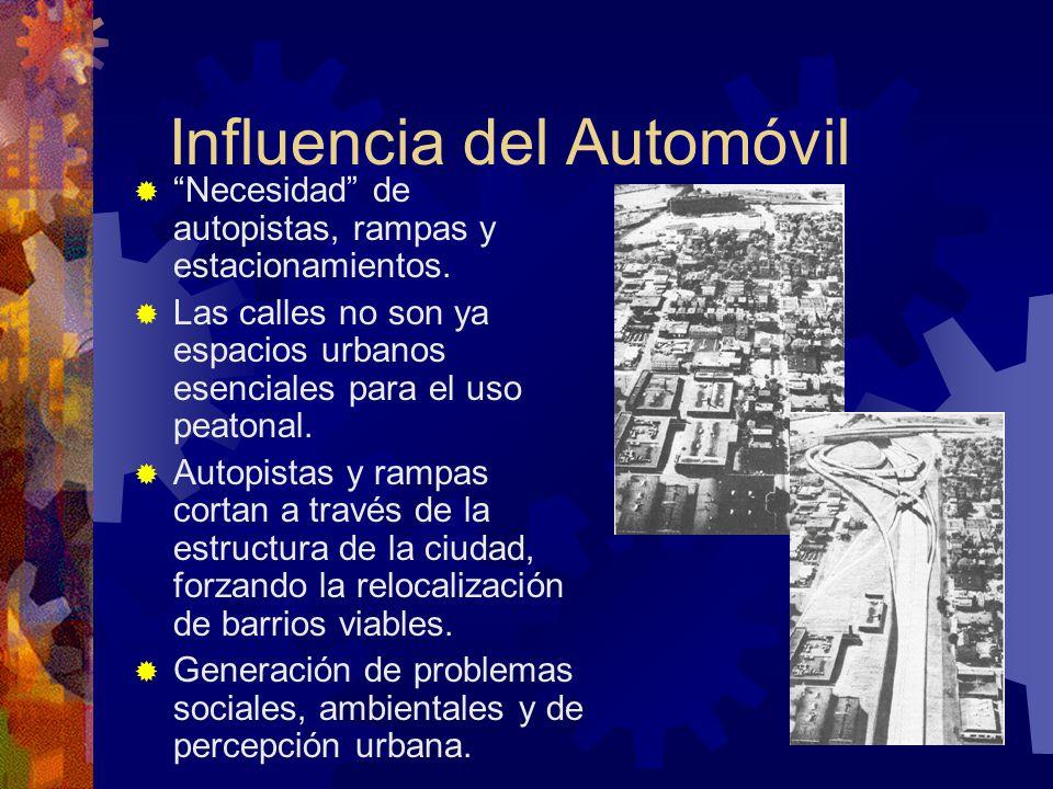 Influencia del Automóvil Necesidad de autopistas, rampas y estacionamientos. Las calles no son ya espacios urbanos esenciales para el uso peatonal. Au