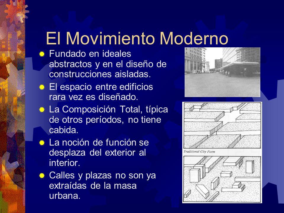 El Movimiento Moderno Fundado en ideales abstractos y en el diseño de construcciones aisladas. El espacio entre edificios rara vez es diseñado. La Com