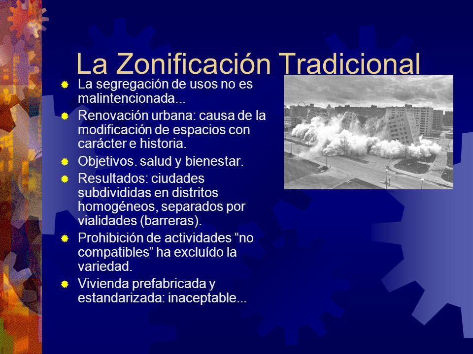 La Zonificación Tradicional La segregación de usos no es malintencionada... Renovación urbana: causa de la modificación de espacios con carácter e his