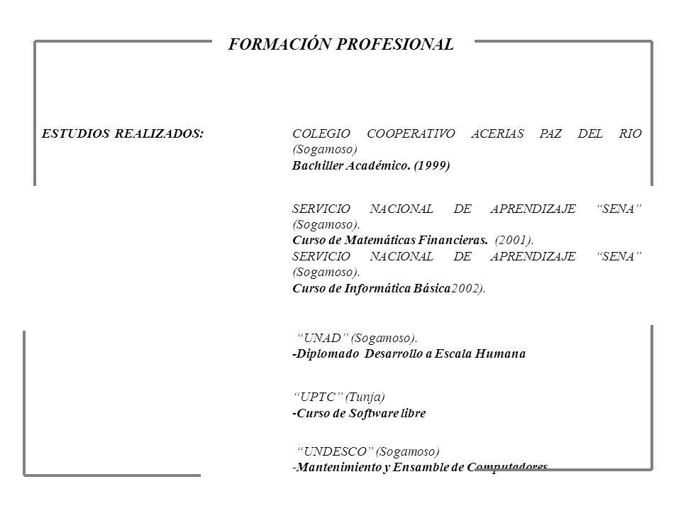 FORMACIÓN PROFESIONAL ESTUDIOS REALIZADOS:COLEGIO COOPERATIVO ACERIAS PAZ DEL RIO (Sogamoso) Bachiller Académico. (1999) SERVICIO NACIONAL DE APRENDIZ