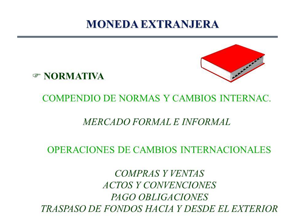 MONEDA EXTRANJERA OPERACIONES DE Mº FORMAL MAS COMUNES RETORNOS POREXPORTACIONES SERVICIOS COMISIONES INDEMNIZACIONES LIQUIDACION ANTICIPO EXPORTACION CREDITOS PARA EXPORT.