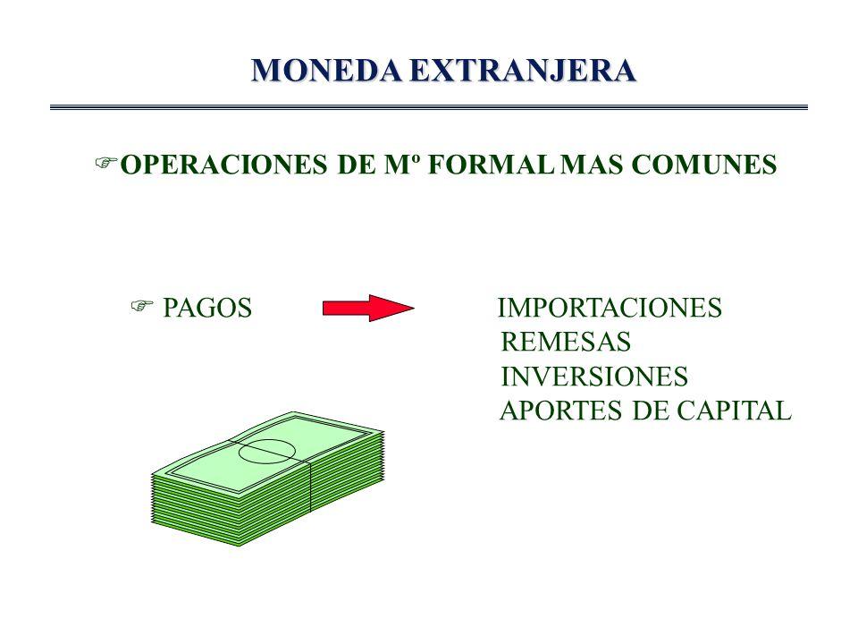 MONEDA EXTRANJERA OPERACIONES DE Mº FORMAL MAS COMUNES PAGOS IMPORTACIONES REMESAS INVERSIONES APORTES DE CAPITAL