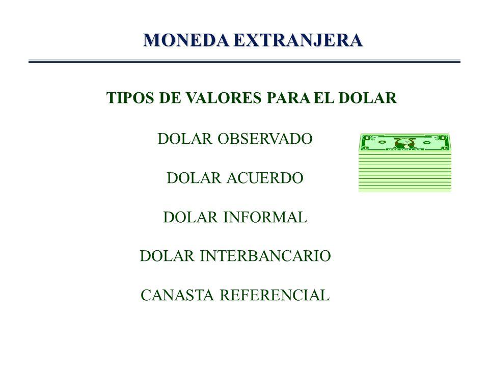 MONEDA EXTRANJERA TIPOS DE VALORES PARA EL DOLAR DOLAR OBSERVADO DOLAR ACUERDO DOLAR INFORMAL DOLAR INTERBANCARIO CANASTA REFERENCIAL