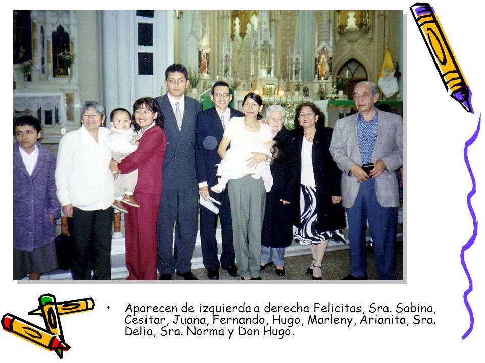 Aparecen de izquierda a derecha Felicitas, Sra. Sabina, Cesitar, Juana, Fernando, Hugo, Marleny, Arianita, Sra. Delia, Sra. Norma y Don Hugo.