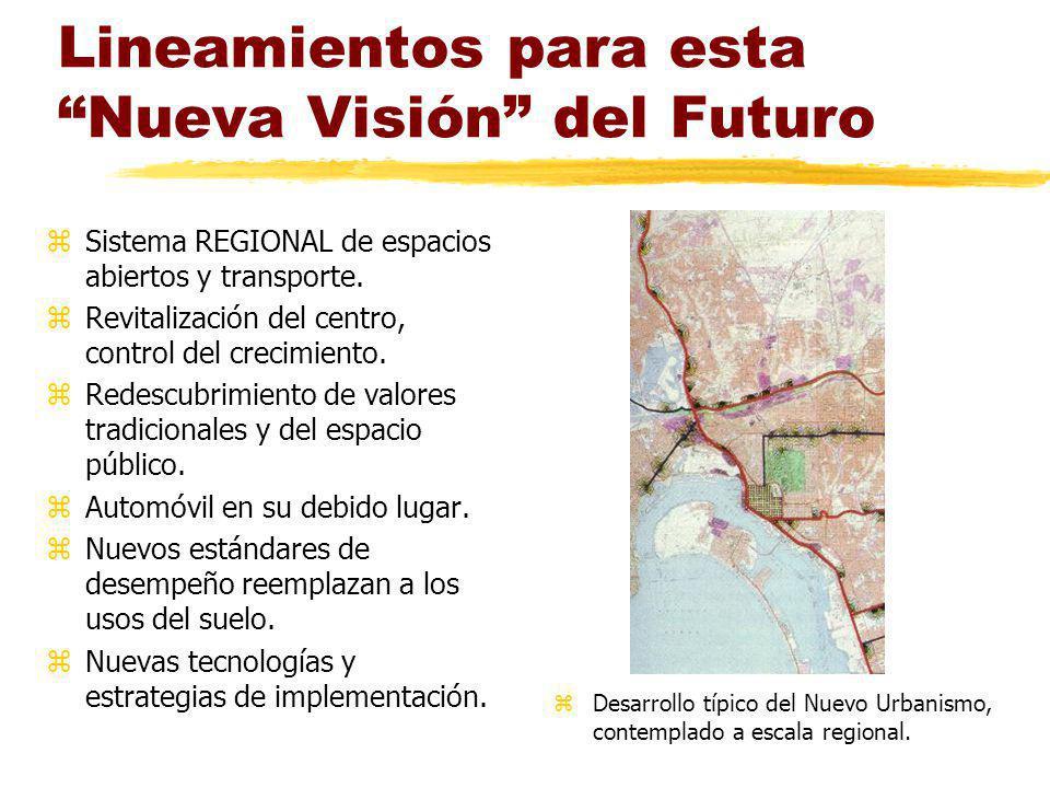 Lineamientos para esta Nueva Visión del Futuro zSistema REGIONAL de espacios abiertos y transporte. zRevitalización del centro, control del crecimient