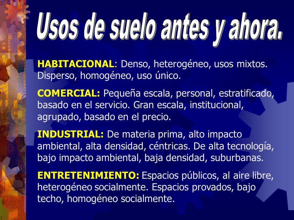 HABITACIONAL: Denso, heterogéneo, usos mixtos. Disperso, homogéneo, uso único. COMERCIAL: Pequeña escala, personal, estratificado, basado en el servic