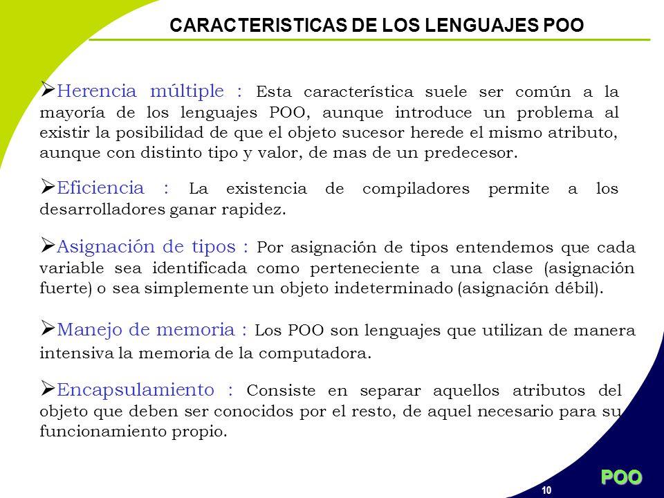 POO 10 CARACTERISTICAS DE LOS LENGUAJES POO Herencia múltiple : Esta característica suele ser común a la mayoría de los lenguajes POO, aunque introduc