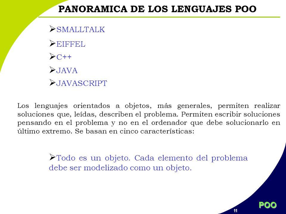 POO 11 PANORAMICA DE LOS LENGUAJES POO SMALLTALK EIFFEL C++ JAVA JAVASCRIPT Los lenguajes orientados a objetos, más generales, permiten realizar soluc