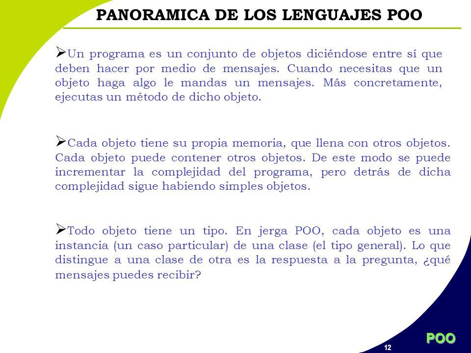 POO 12 PANORAMICA DE LOS LENGUAJES POO Un programa es un conjunto de objetos diciéndose entre sí que deben hacer por medio de mensajes. Cuando necesit