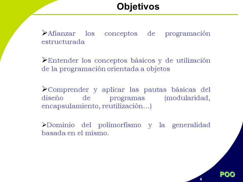 POO 4 Objetivos Afianzar los conceptos de programación estructurada Entender los conceptos básicos y de utilización de la programación orientada a obj
