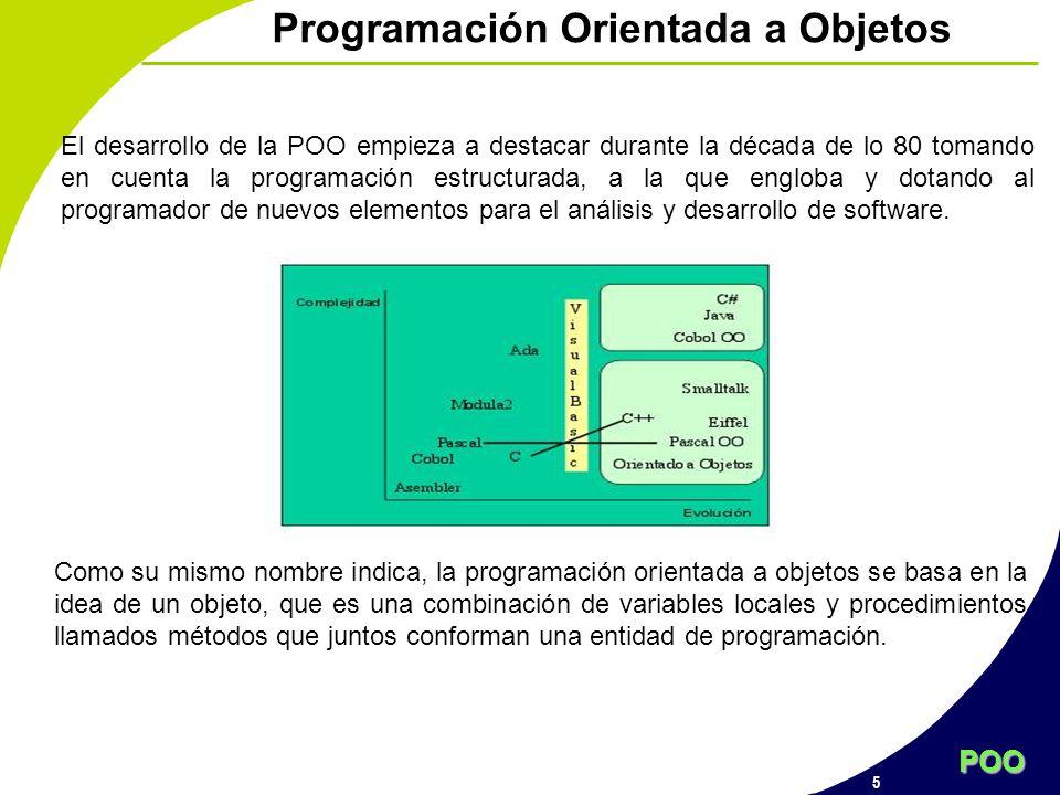 POO 5 Programación Orientada a Objetos El desarrollo de la POO empieza a destacar durante la década de lo 80 tomando en cuenta la programación estruct