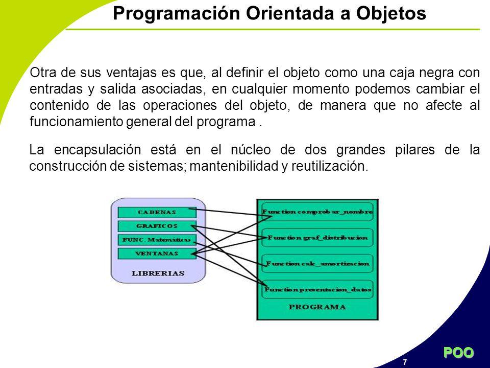 POO 7 Programación Orientada a Objetos La encapsulación está en el núcleo de dos grandes pilares de la construcción de sistemas; mantenibilidad y reut