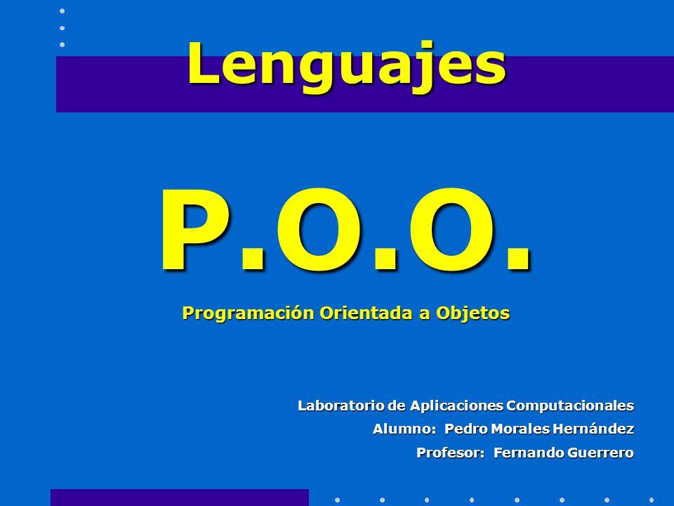 Laboratorio de Aplicaciones Computacionales Alumno: Pedro Morales Hernández Profesor: Fernando Guerrero LenguajesP.O.O. Programación Orientada a Objet