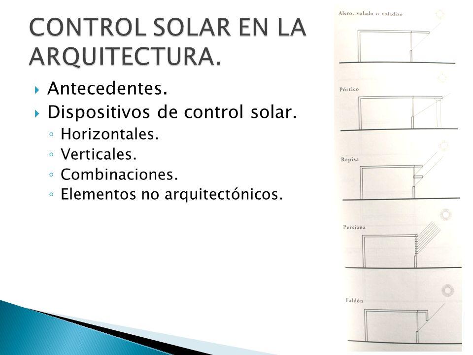 Antecedentes. Dispositivos de control solar. Horizontales. Verticales. Combinaciones. Elementos no arquitectónicos.