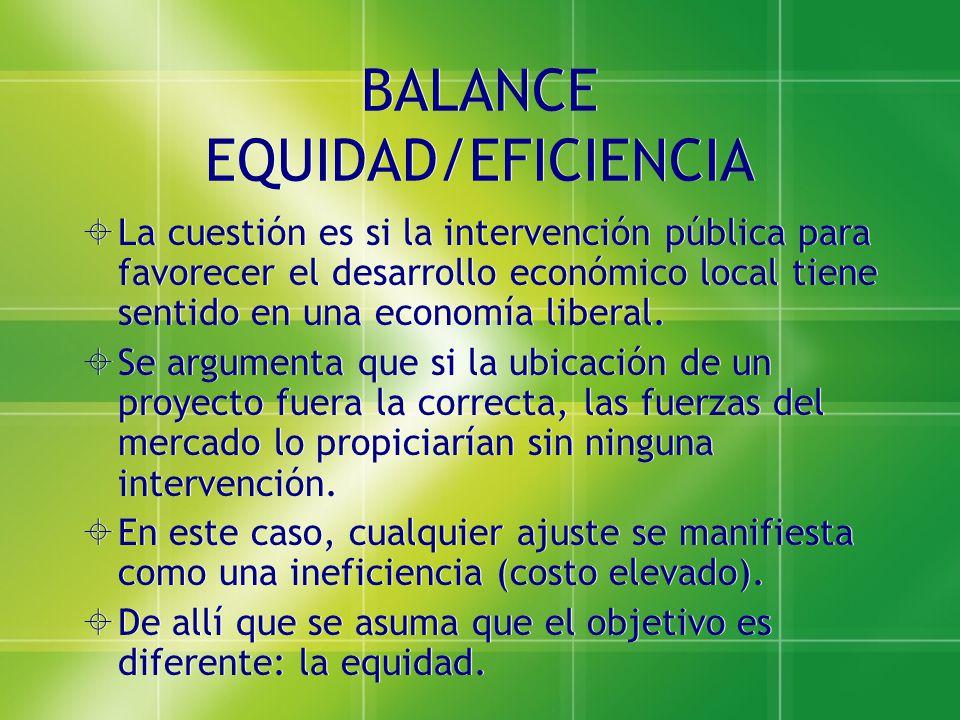 BALANCE EQUIDAD/EFICIENCIA La cuestión es si la intervención pública para favorecer el desarrollo económico local tiene sentido en una economía libera