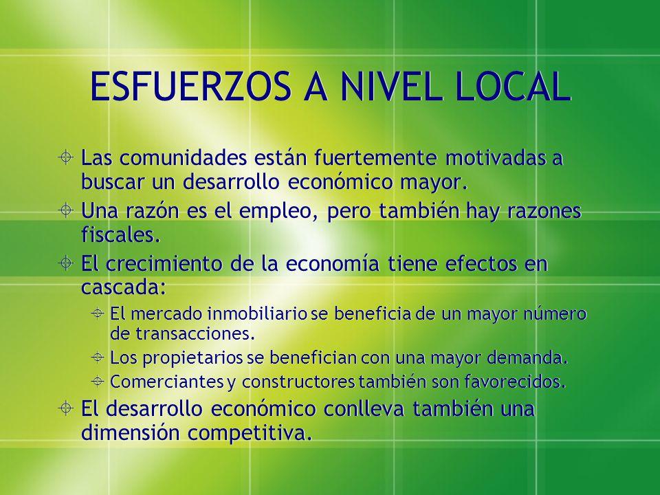 ESFUERZOS A NIVEL LOCAL Las comunidades están fuertemente motivadas a buscar un desarrollo económico mayor. Una razón es el empleo, pero también hay r