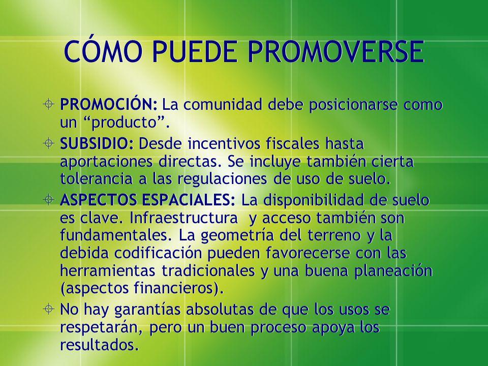 CÓMO PUEDE PROMOVERSE PROMOCIÓN: La comunidad debe posicionarse como un producto. SUBSIDIO: Desde incentivos fiscales hasta aportaciones directas. Se
