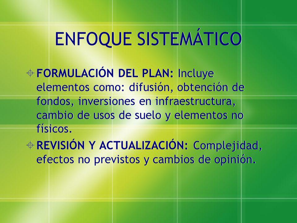 ENFOQUE SISTEMÁTICO FORMULACIÓN DEL PLAN: Incluye elementos como: difusión, obtención de fondos, inversiones en infraestructura, cambio de usos de sue