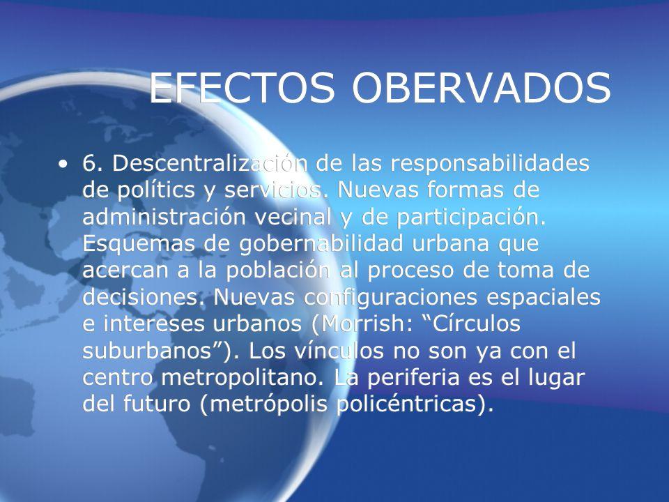 EFECTOS OBERVADOS 6.Descentralización de las responsabilidades de polítics y servicios.