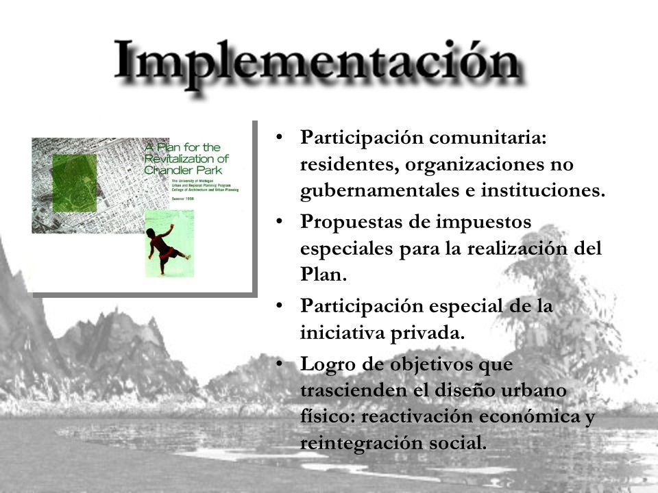 Participación comunitaria: residentes, organizaciones no gubernamentales e instituciones.