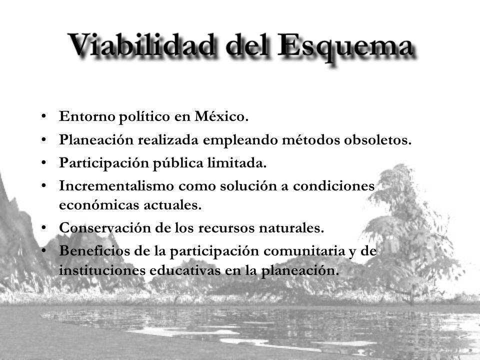 Entorno político en México. Planeación realizada empleando métodos obsoletos. Participación pública limitada. Incrementalismo como solución a condicio