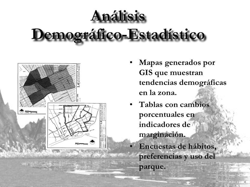 Mapas generados por GIS que muestran tendencias demográficas en la zona. Tablas con cambios porcentuales en indicadores de marginación. Encuestas de h