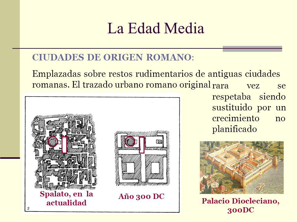 La Edad Media Palacio Diocleciano, 300DC Spalato, en la actualidad Año 300 DC CIUDADES DE ORIGEN ROMANO: Emplazadas sobre restos rudimentarios de anti