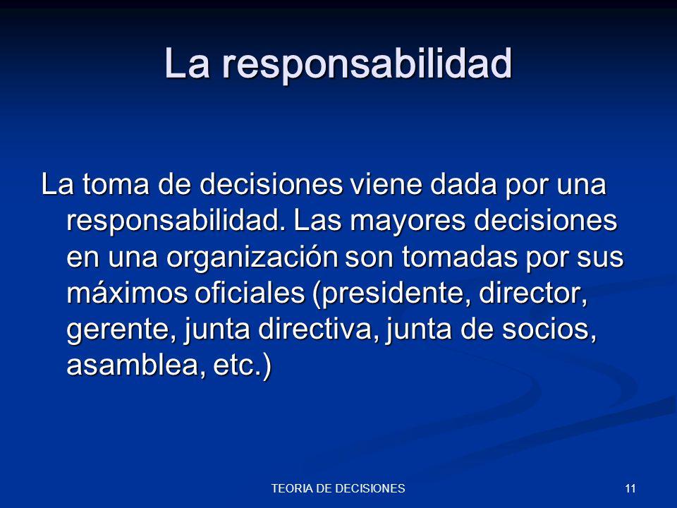11TEORIA DE DECISIONES La responsabilidad La toma de decisiones viene dada por una responsabilidad. Las mayores decisiones en una organización son tom