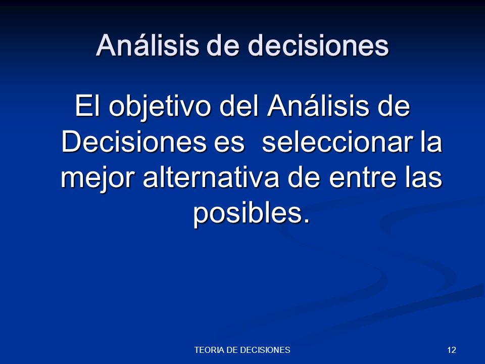 12TEORIA DE DECISIONES Análisis de decisiones El objetivo del Análisis de Decisiones es seleccionar la mejor alternativa de entre las posibles.