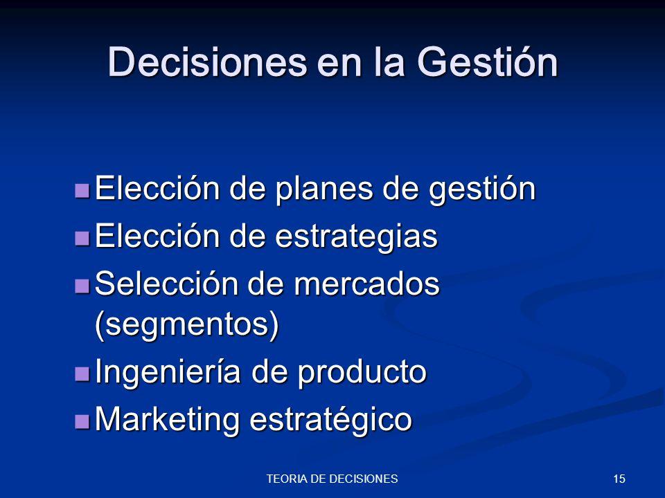 15TEORIA DE DECISIONES Decisiones en la Gestión Elección de planes de gestión Elección de planes de gestión Elección de estrategias Elección de estrat