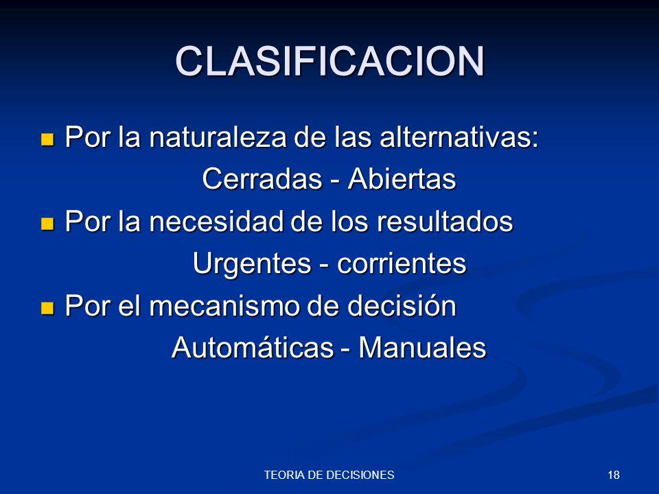 18TEORIA DE DECISIONES CLASIFICACION Por la naturaleza de las alternativas: Por la naturaleza de las alternativas: Cerradas - Abiertas Por la necesida