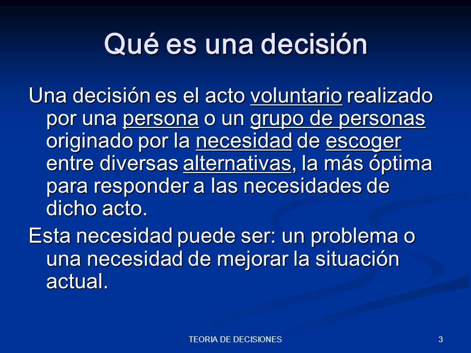 3TEORIA DE DECISIONES Qué es una decisión Una decisión es el acto voluntario realizado por una persona o un grupo de personas originado por la necesid