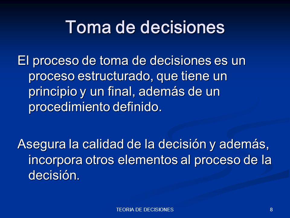 8TEORIA DE DECISIONES Toma de decisiones El proceso de toma de decisiones es un proceso estructurado, que tiene un principio y un final, además de un