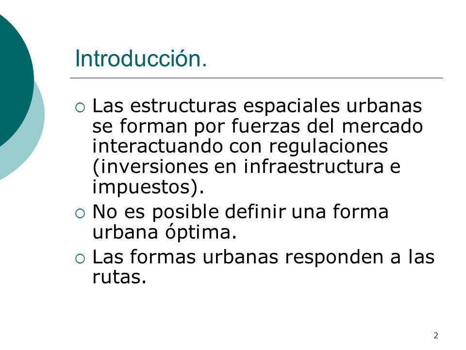 2 Introducción. Las estructuras espaciales urbanas se forman por fuerzas del mercado interactuando con regulaciones (inversiones en infraestructura e