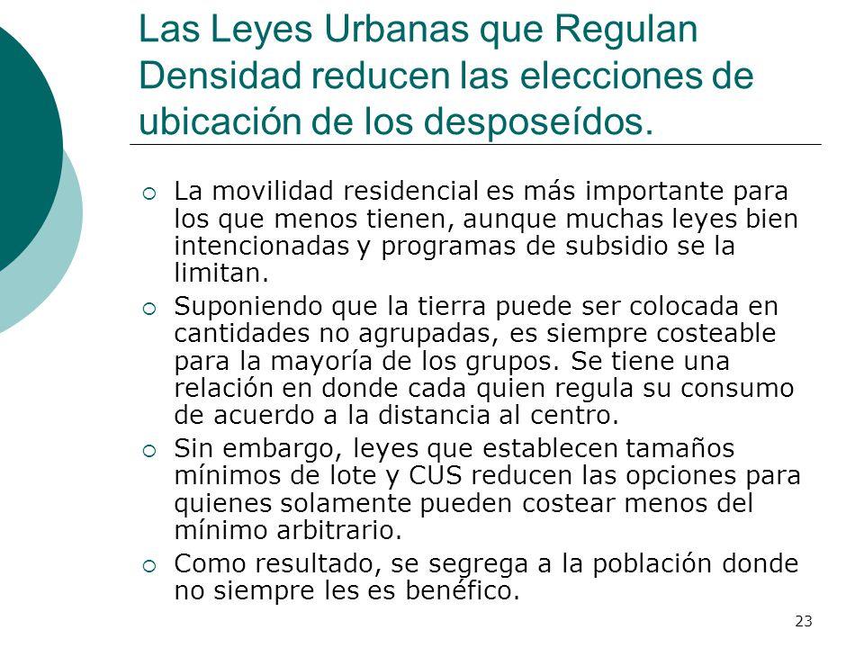 23 Las Leyes Urbanas que Regulan Densidad reducen las elecciones de ubicación de los desposeídos. La movilidad residencial es más importante para los