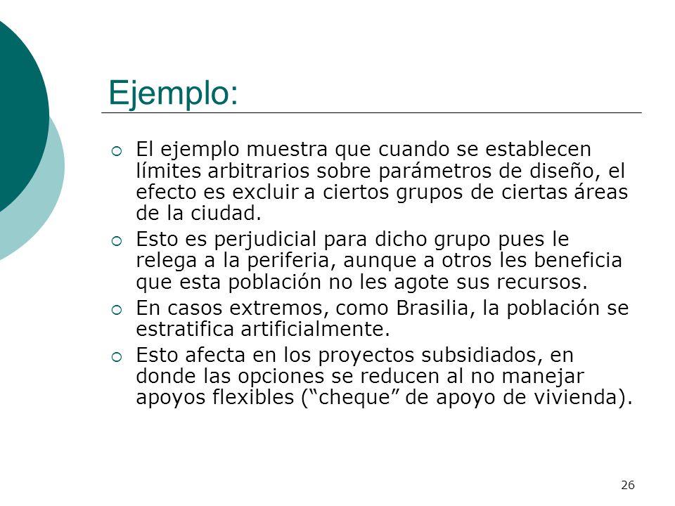 26 Ejemplo: El ejemplo muestra que cuando se establecen límites arbitrarios sobre parámetros de diseño, el efecto es excluir a ciertos grupos de ciert