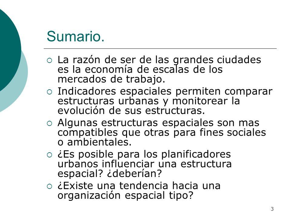 3 Sumario. La razón de ser de las grandes ciudades es la economía de escalas de los mercados de trabajo. Indicadores espaciales permiten comparar estr