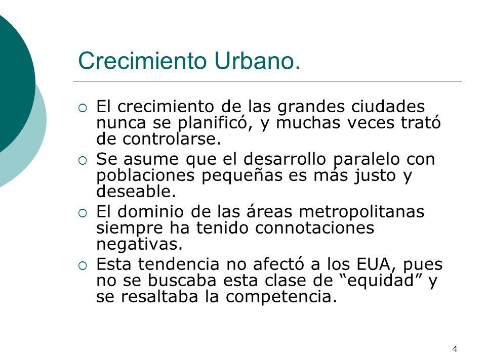 4 Crecimiento Urbano. El crecimiento de las grandes ciudades nunca se planificó, y muchas veces trató de controlarse. Se asume que el desarrollo paral