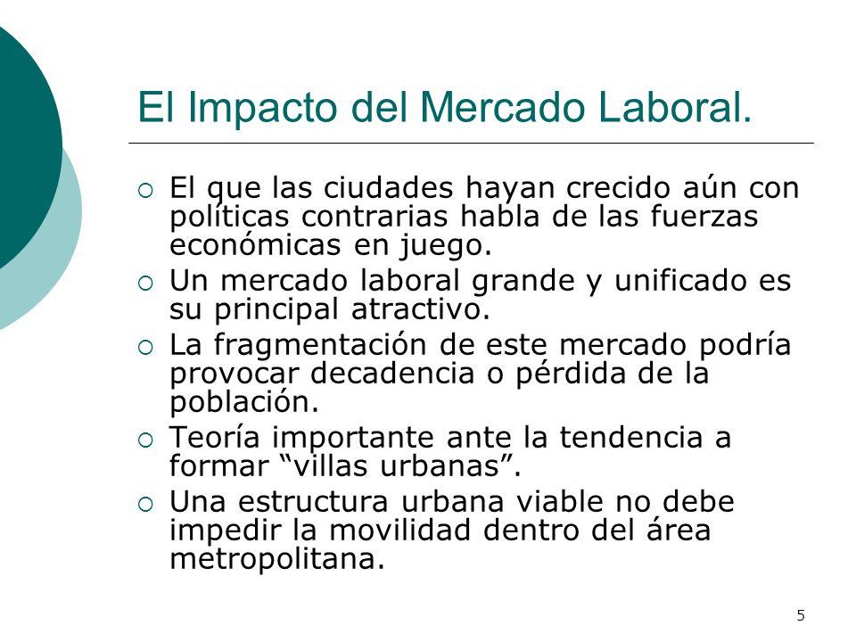 5 El Impacto del Mercado Laboral. El que las ciudades hayan crecido aún con políticas contrarias habla de las fuerzas económicas en juego. Un mercado