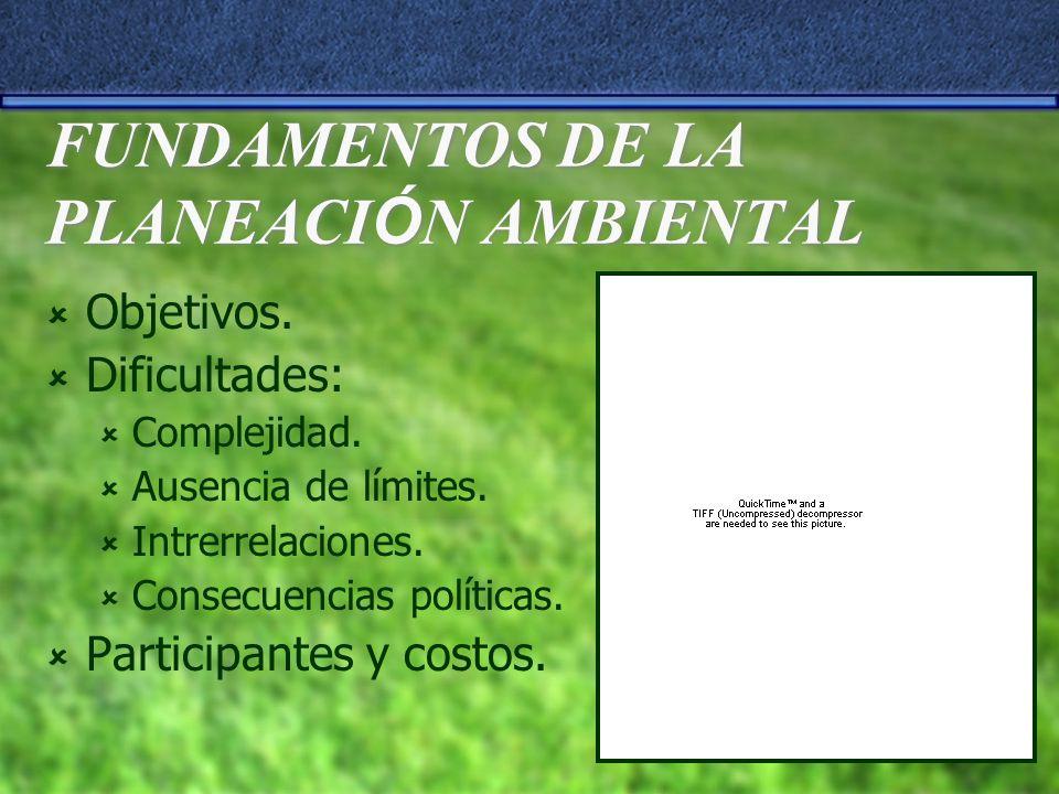 FUNDAMENTOS DE LA PLANEACI Ó N AMBIENTAL Objetivos. Dificultades: Complejidad. Ausencia de límites. Intrerrelaciones. Consecuencias políticas. Partici