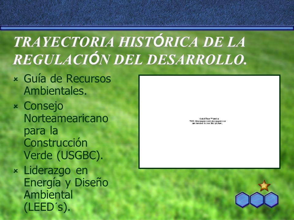 TRAYECTORIA HIST Ó RICA DE LA REGULACI Ó N DEL DESARROLLO. Guía de Recursos Ambientales. Consejo Norteamearicano para la Construcción Verde (USGBC). L