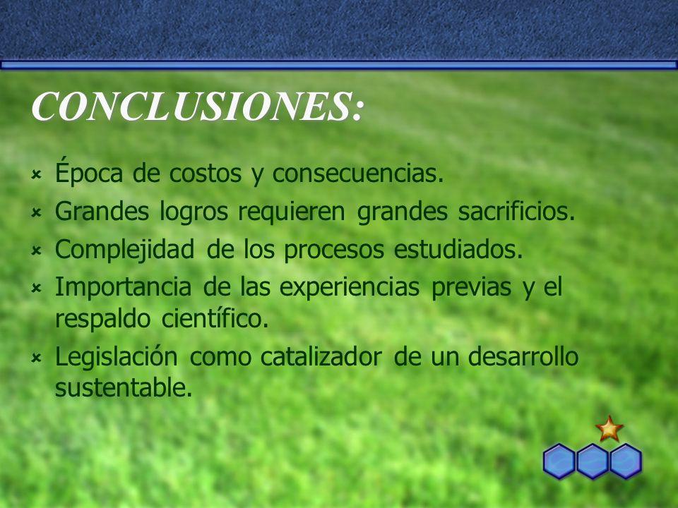 CONCLUSIONES: Época de costos y consecuencias. Grandes logros requieren grandes sacrificios. Complejidad de los procesos estudiados. Importancia de la