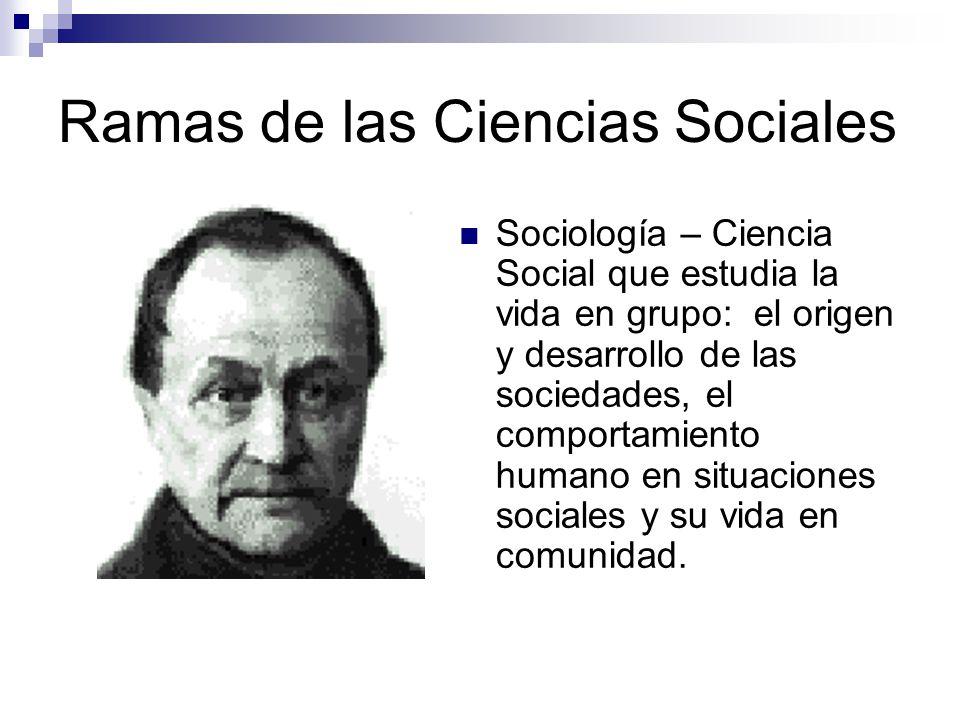 Ramas de las Ciencias Sociales ANTROPOLOGÍA SOCIOCULTURAL SURGIMIENTODESARROLLO FÍSICA EVOLUCIÓN BIOLÓGICA APLICADADA DATOS RESOLVER PROBLEMAS TEORÍAS GRUPOS HUMANOS