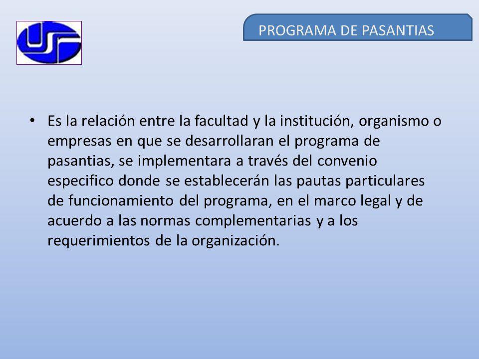 PROGRAMA DE PASANTIAS Es la relación entre la facultad y la institución, organismo o empresas en que se desarrollaran el programa de pasantias, se imp
