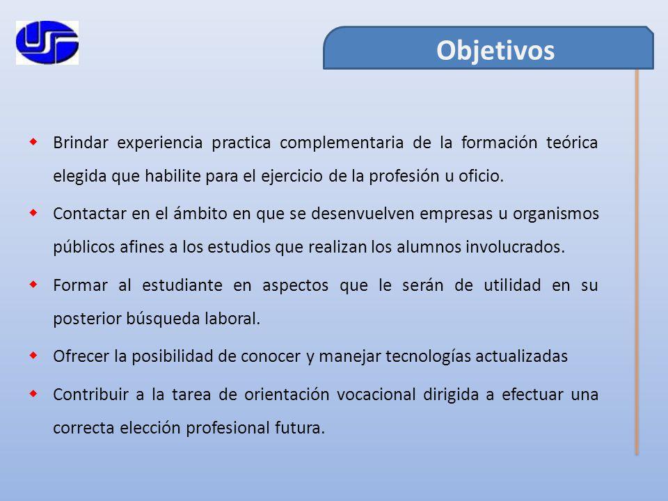 Brindar experiencia practica complementaria de la formación teórica elegida que habilite para el ejercicio de la profesión u oficio.
