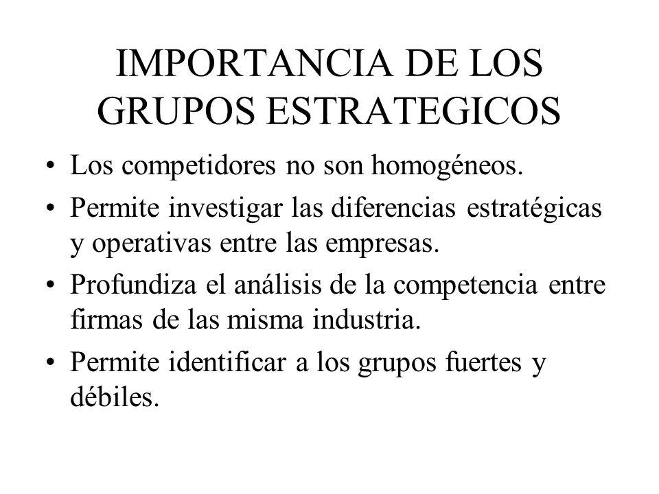 IMPORTANCIA DE LOS GRUPOS ESTRATEGICOS Los competidores no son homogéneos. Permite investigar las diferencias estratégicas y operativas entre las empr