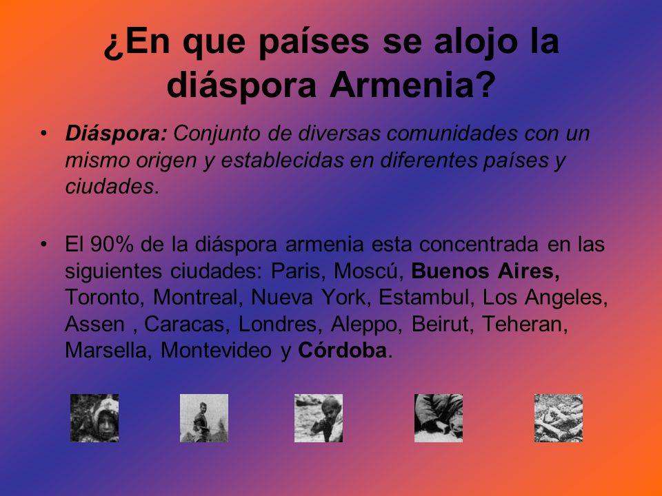 ¿En que países se alojo la diáspora Armenia? Diáspora: Conjunto de diversas comunidades con un mismo origen y establecidas en diferentes países y ciud